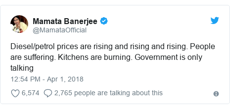 Twitter post by @MamataOfficial: Diesel/petrol prices are rising and rising and rising. People are suffering. Kitchens are burning. Government is only talking