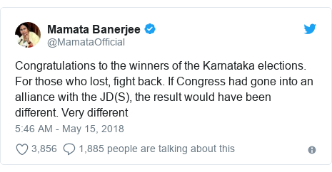 Twitter post by @MamataOfficial: Congratulations to the winners of the Karnataka elections. For those who lost, fight back. If Congress had gone into an alliance with the JD(S), the result would have been different. Very different