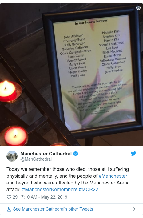 Twitter post by @ManCathedral: Today we remember those who died, those still suffering physically and mentally, and the people of #Manchester and beyond who were affected by the Manchester Arena attack. #ManchesterRemembers #MCR22