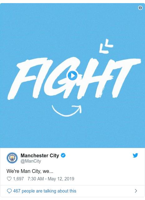 Twitter post by @ManCity: We're Man City, we...