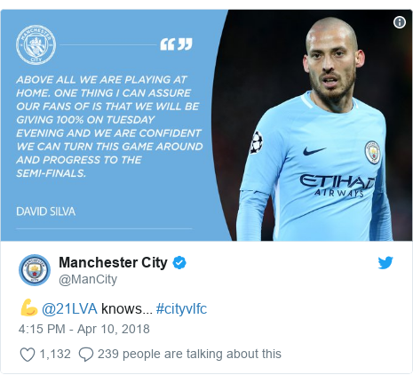 Twitter post by @ManCity: 💪 @21LVA knows... #cityvlfc