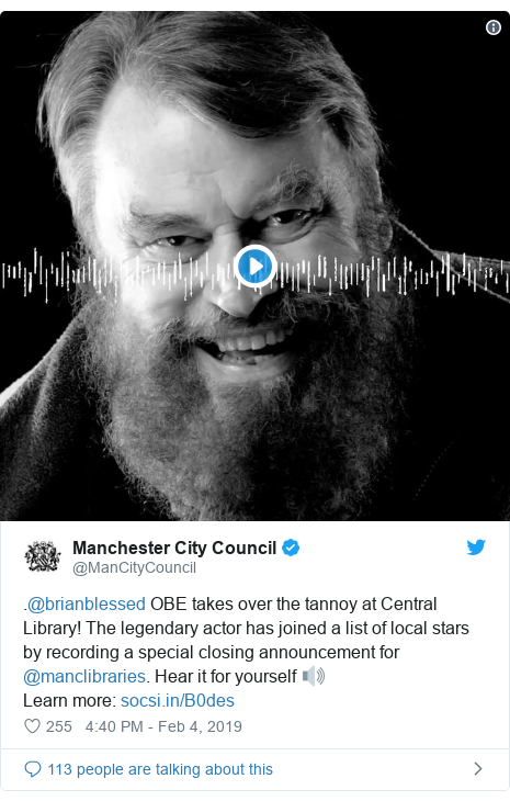 Twitter post by @ManCityCouncil: .@brianblessed OBE takes over the tannoy at Central Library! The legendary actor has joined a list of local stars by recording a special closing announcement for @manclibraries. Hear it for yourself 🔊Learn more