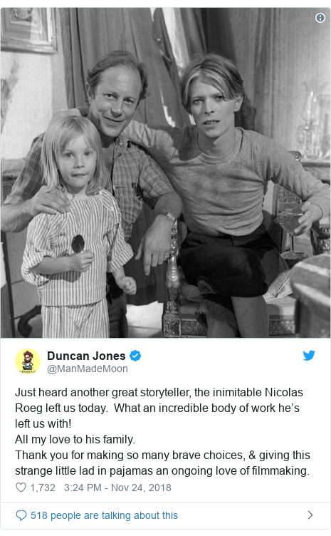 Twitter post by @ManMadeMoon: Just heard another great storyteller, the inimitable Nicolas Roeg left us today.  What an incredible body of work he's left us with!All my love to his family.Thank you for making so many brave choices, & giving this strange little lad in pajamas an ongoing love of filmmaking.