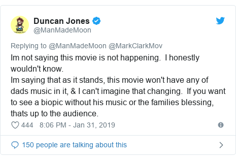 Twitter post by @ManMadeMoon: Im not saying this movie is not happening.  I honestly wouldn't know.Im saying that as it stands, this movie won't have any of dads music in it, & I can't imagine that changing.  If you want to see a biopic without his music or the families blessing, thats up to the audience.