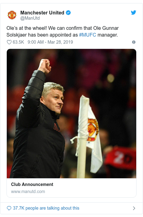 Twitter post by @ManUtd: Ole's at the wheel! We can confirm that Ole Gunnar Solskjaer has been appointed as #MUFC manager.