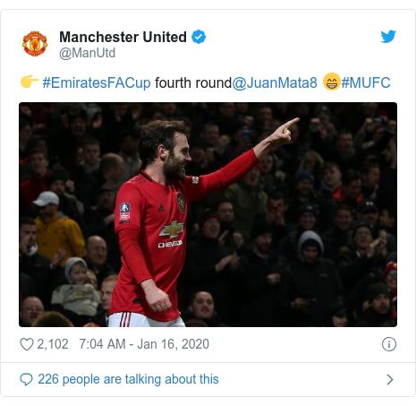Twitter post by @ManUtd: 👉 #EmiratesFACup fourth round@JuanMata8 😁#MUFC