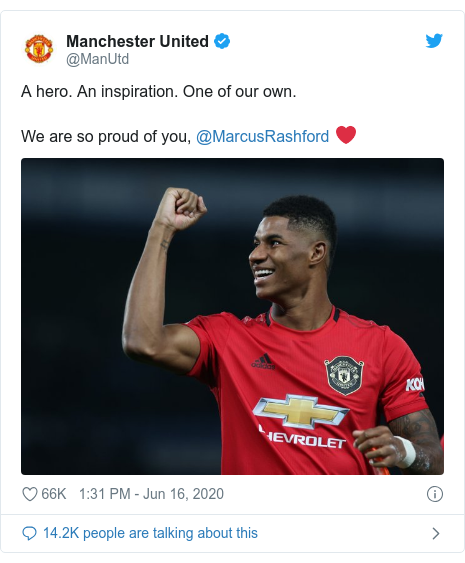 Twitter post by @ManUtd: A hero. An inspiration. One of our own.We are so proud of you, @MarcusRashford ❤️