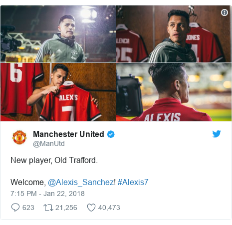 Twitter post by @ManUtd: New player, Old Trafford.Welcome, @Alexis_Sanchez! #Alexis7