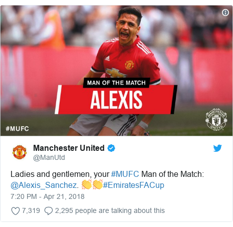 Twitter post by @ManUtd: Ladies and gentlemen, your #MUFC Man of the Match  @Alexis_Sanchez. 👏👏#EmiratesFACup
