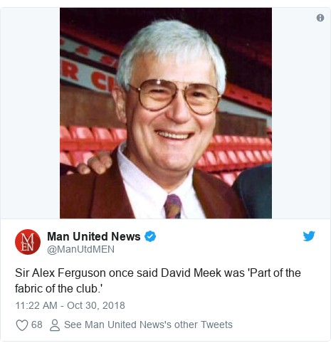 Twitter post by @ManUtdMEN: Sir Alex Ferguson once said David Meek was 'Part of the fabric of the club.'