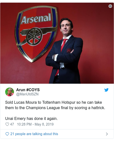 Twitter post by @ManUtdSZN: Sold Lucas Moura to Tottenham Hotspur so he can take them to the Champions League final by scoring a hattrick.Unai Emery has done it again.