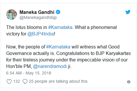 Twitter post by @Manekagandhibjp: The lotus blooms in #Karnataka. What a phenomenal victory for @BJP4India!Now, the people of #Karnataka will witness what Good Governance actually is. Congratulations to BJP Karyakartas for their tireless journey under the impeccable vision of our Hon'ble PM, @narendramodi ji.
