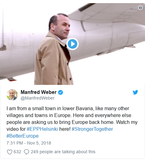 Twitter post by @ManfredWeber: I am from a small town in lower Bavaria, like many other villages and towns in Europe. Here and everywhere else people are asking us to bring Europe back home. Watch my video for #EPPHelsinki here! #StrongerTogether #BetterEurope