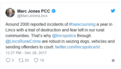 Twitter post by @MarcJonesLincs: Around 2000 reported incidents of #harecoursing a year in Lincs with a trail of destruction and fear left in our rural communities. That's why @lincspolice through @LincsRuralCrime are robust in seizing dogs, vehicles and sending offenders to court.