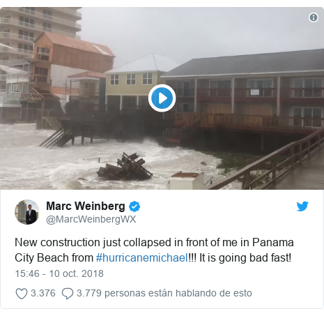 Publicación de Twitter por @MarcWeinbergWX: New construction just collapsed in front of me in Panama City Beach from #hurricanemichael!!! It is going bad fast!