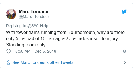 Twitter post by @Marc_Tondeur: With fewer trains running from Bournemouth, why are there only 5 instead of 10 carriages? Just adds insult to injury. Standing room only.