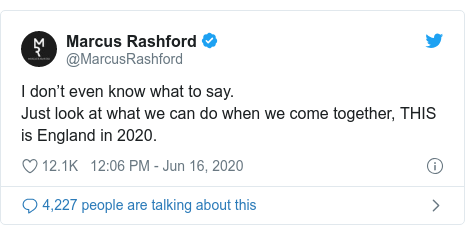 Twitter post by @MarcusRashford: I don't even know what to say.Just look at what we can do when we come together, THIS is England in 2020.