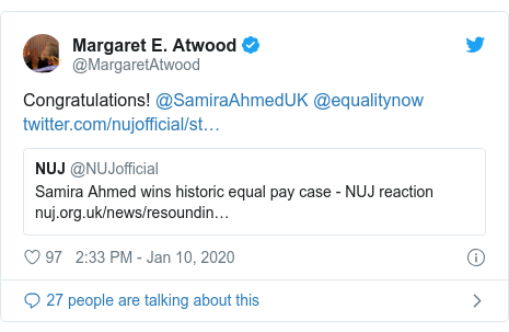 Twitter post by @MargaretAtwood: Congratulations! @SamiraAhmedUK @equalitynow