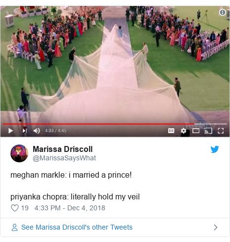 Twitter waxaa daabacay @MarissaSaysWhat: meghan markle  i married a prince!priyanka chopra  literally hold my veil