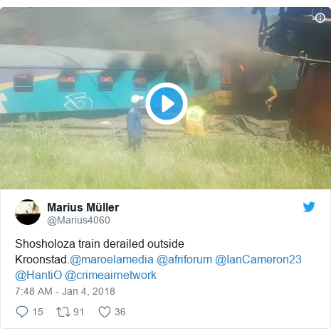 Twitter post by @Marius4060: Shosholoza train derailed outside Kroonstad.@maroelamedia @afriforum @IanCameron23 @HantiO @crimeairnetwork