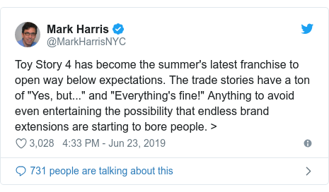 "Twitter post by @MarkHarrisNYC: Toy Story 4 has become the summer's latest franchise to open way below expectations. The trade stories have a ton of ""Yes, but..."" and ""Everything's fine!"" Anything to avoid even entertaining the possibility that endless brand extensions are starting to bore people. >"