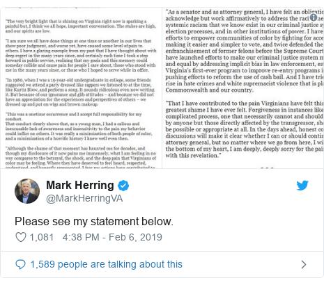 Twitter post by @MarkHerringVA: Please see my statement below.