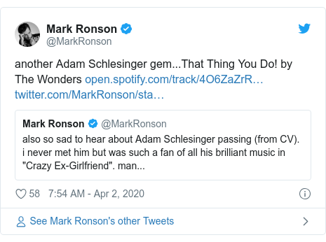 Twitter post by @MarkRonson: another Adam Schlesinger gem...That Thing You Do! by The Wonders