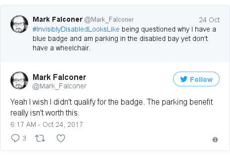 Twitter post by @Mark_Falconer: Yeah I wish I didn't qualify for the badge. The parking benefit really isn't worth this.