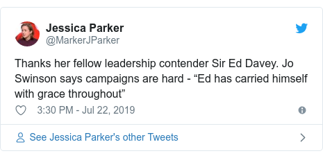 "Twitter post by @MarkerJParker: Thanks her fellow leadership contender Sir Ed Davey. Jo Swinson says campaigns are hard - ""Ed has carried himself with grace throughout"""