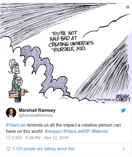 Twitter post by @MarshallRamsey: #StanLee reminds us all the impact a creative person can have on this world. #respect #StanLeeRIP #Marvel
