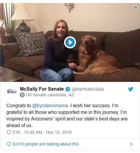 Twitter post by @MarthaMcSally: Congrats to @kyrstensinema. I wish her success. I'm grateful to all those who supported me in this journey. I'm inspired by Arizonans' spirit and our state's best days are ahead of us.