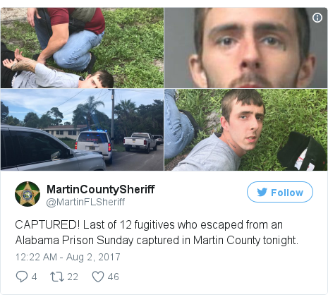 Twitter post by @MartinFLSheriff
