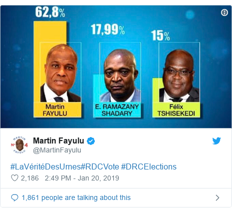 Twitter ubutumwa bwa @MartinFayulu: #LaVéritéDesUrnes#RDCVote #DRCElections