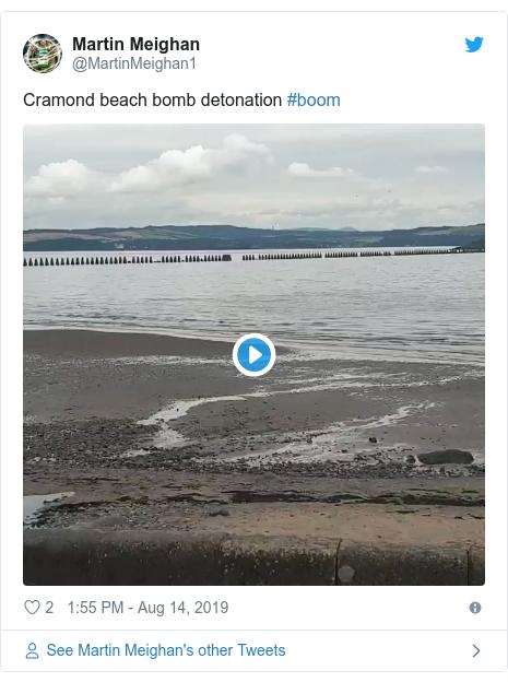 Twitter post by @MartinMeighan1: Cramond beach bomb detonation #boom