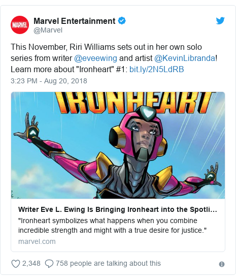 "Twitter post by @Marvel: This November, Riri Williams sets out in her own solo series from writer @eveewing and artist @KevinLibranda! Learn more about ""Ironheart"" #1"