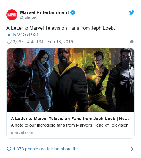 Twitter post by @Marvel: A Letter to Marvel Television Fans from Jeph Loeb