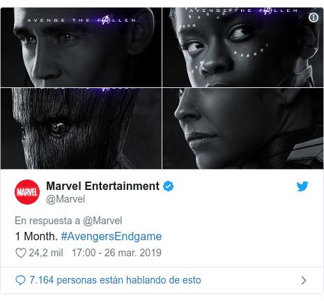 Publicación de Twitter por @Marvel: 1 Month. #AvengersEndgame
