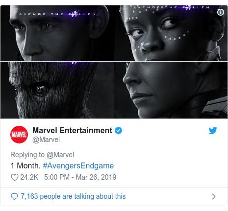Twitter post by @Marvel: 1 Month. #AvengersEndgame