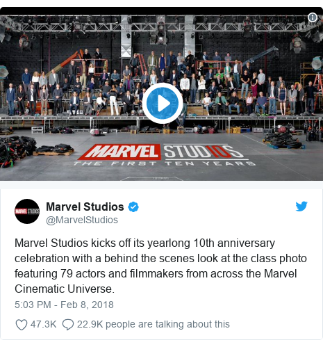 Twitter post by @MarvelStudios: Marvel Studios kicks off its yearlong 10th anniversary celebration with a behind the scenes look at the class photo featuring 79 actors and filmmakers from across the Marvel Cinematic Universe.