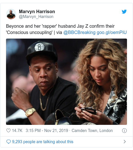 Twitter post by @Marvyn_Harrison: Beyonce and her 'rapper' husband Jay Z confirm their 'Conscious uncoupling' | via @BBCBreaking