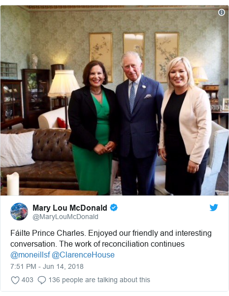 Twitter post by @MaryLouMcDonald: Fáilte Prince Charles. Enjoyed our friendly and interesting conversation. The work of reconciliation continues @moneillsf @ClarenceHouse
