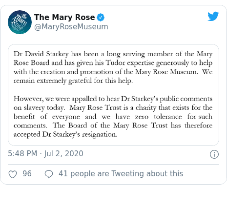 Twitter post by @MaryRoseMuseum: