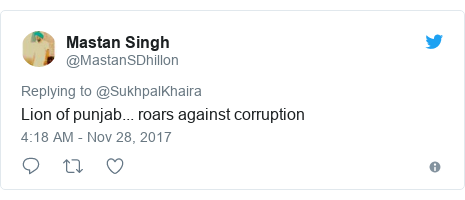 Twitter post by @MastanSDhillon: Lion of punjab... roars against corruption
