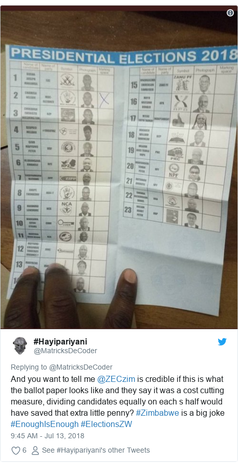 Ujumbe wa Twitter wa @MatricksDeCoder: And you want to tell me @ZECzim is credible if this is what the ballot paper looks like and they say it was a cost cutting measure, dividing candidates equally on each s half would have saved that extra little penny? #Zimbabwe is a big joke #EnoughIsEnough #ElectionsZW