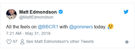 Twitter post by @MattEdmondson: All the feels on @BBCR1 with @grimmers today. 😥