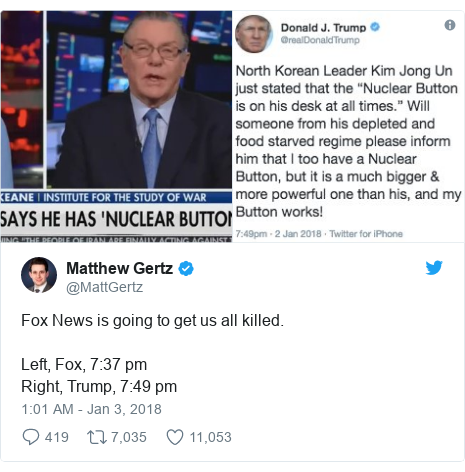 Twitter post by @MattGertz: Fox News is going to get us all killed.Left, Fox, 7 37 pmRight, Trump, 7 49 pm