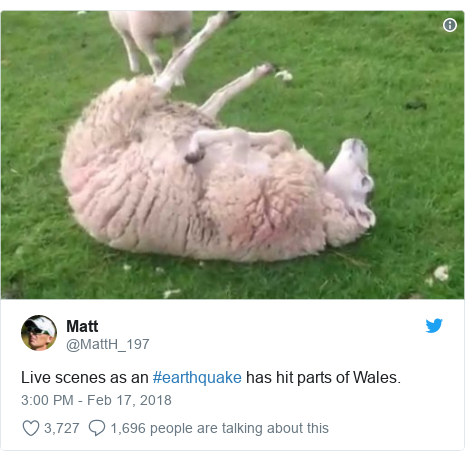 Twitter post by @MattH_197: Live scenes as an #earthquake has hit parts of Wales.