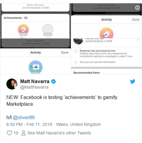 Twitter post by @MattNavarra: NEW  Facebook is testing 'achievements' to gamify Marketplaceh/t @sliver86