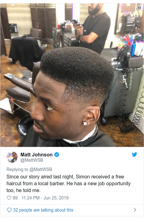 Twitter post by @MattWSB: Since our story aired last night, Simon received a free haircut from a local barber. He has a new job opportunity too, he told me.