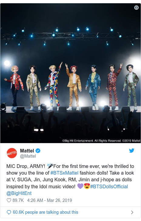 Twitter post by @Mattel: MIC Drop, ARMY! 🎤For the first time ever, we're thrilled to show you the line of #BTSxMattel fashion dolls! Take a look at V, SUGA, Jin, Jung Kook, RM, Jimin and j-hope as dolls inspired by the Idol music video! 💜😍#BTSDollsOfficial @BigHitEnt